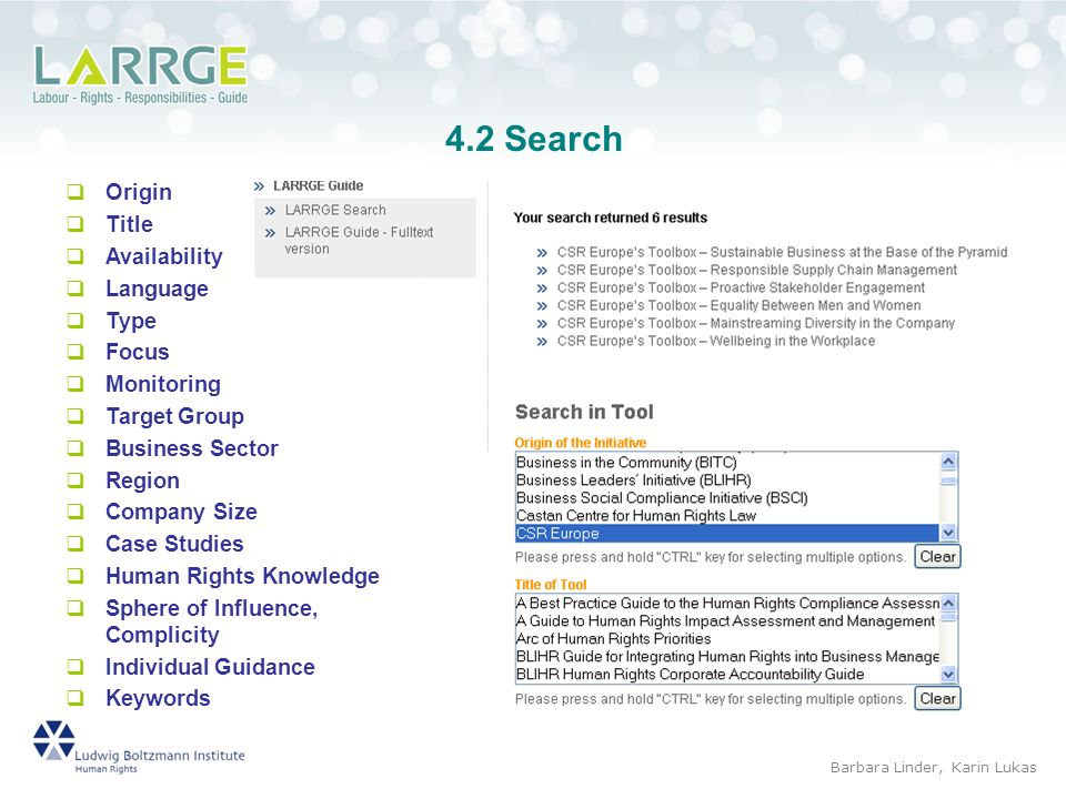 4.2 Search Origin Title Availability Language Type Focus Monitoring