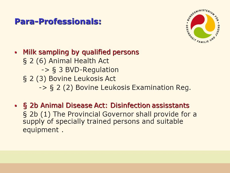 Para-Professionals: Milk sampling by qualified persons