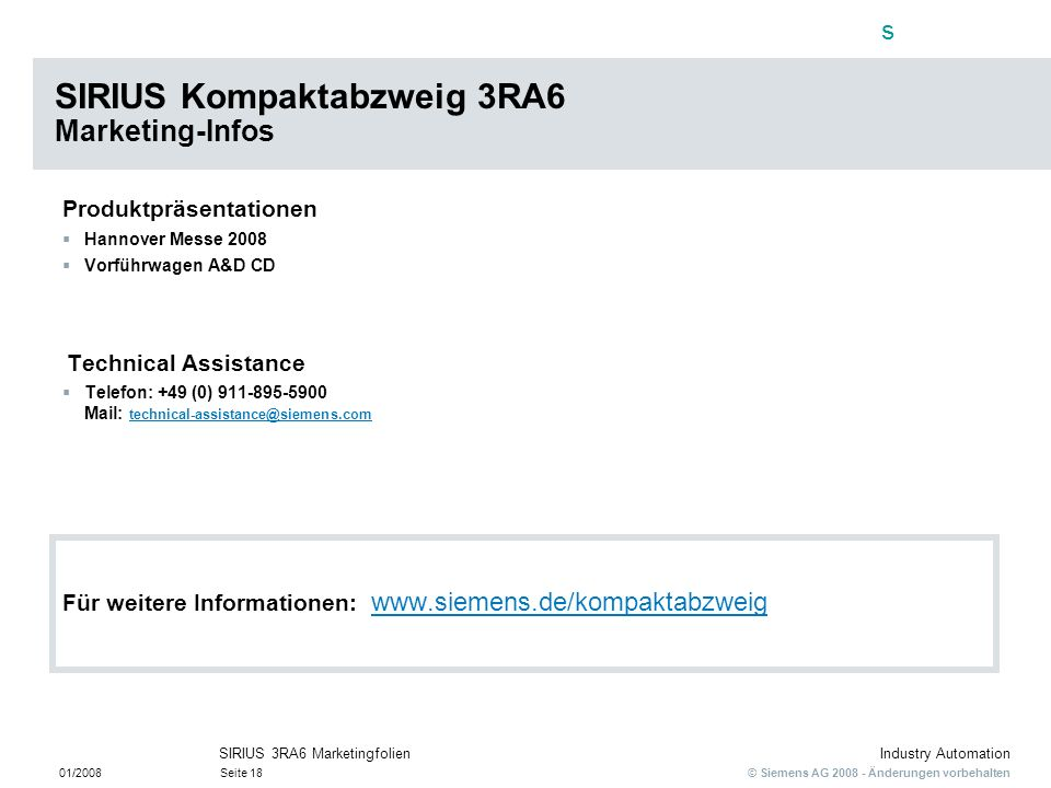 SIRIUS Kompaktabzweig 3RA6 Marketing-Infos
