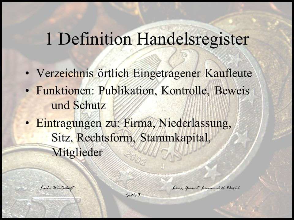 1 Definition Handelsregister