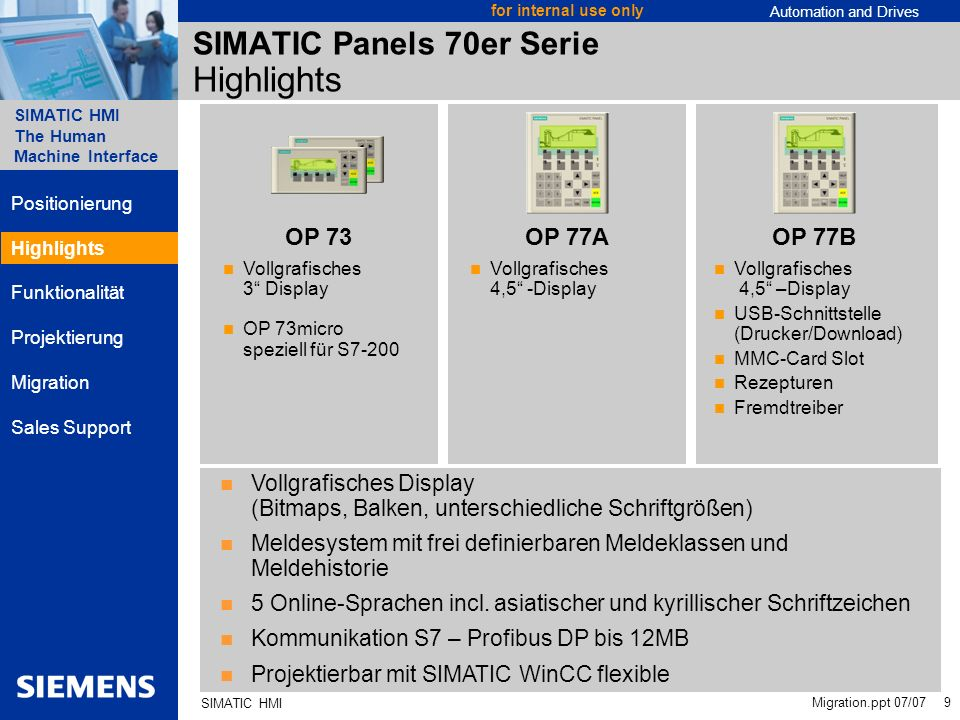 SIMATIC Panels 70er Serie Highlights