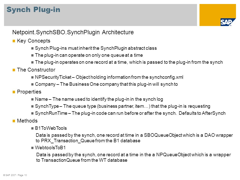 Synch Plug-in Netpoint.SynchSBO.SynchPlugin Architecture Key Concepts