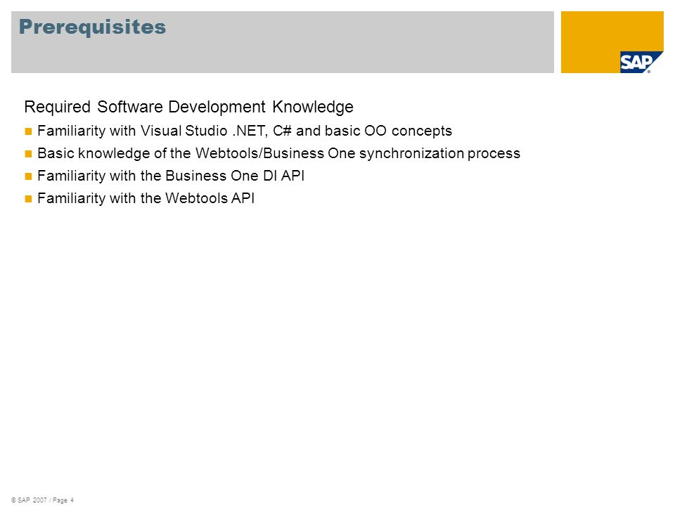 Prerequisites Required Software Development Knowledge