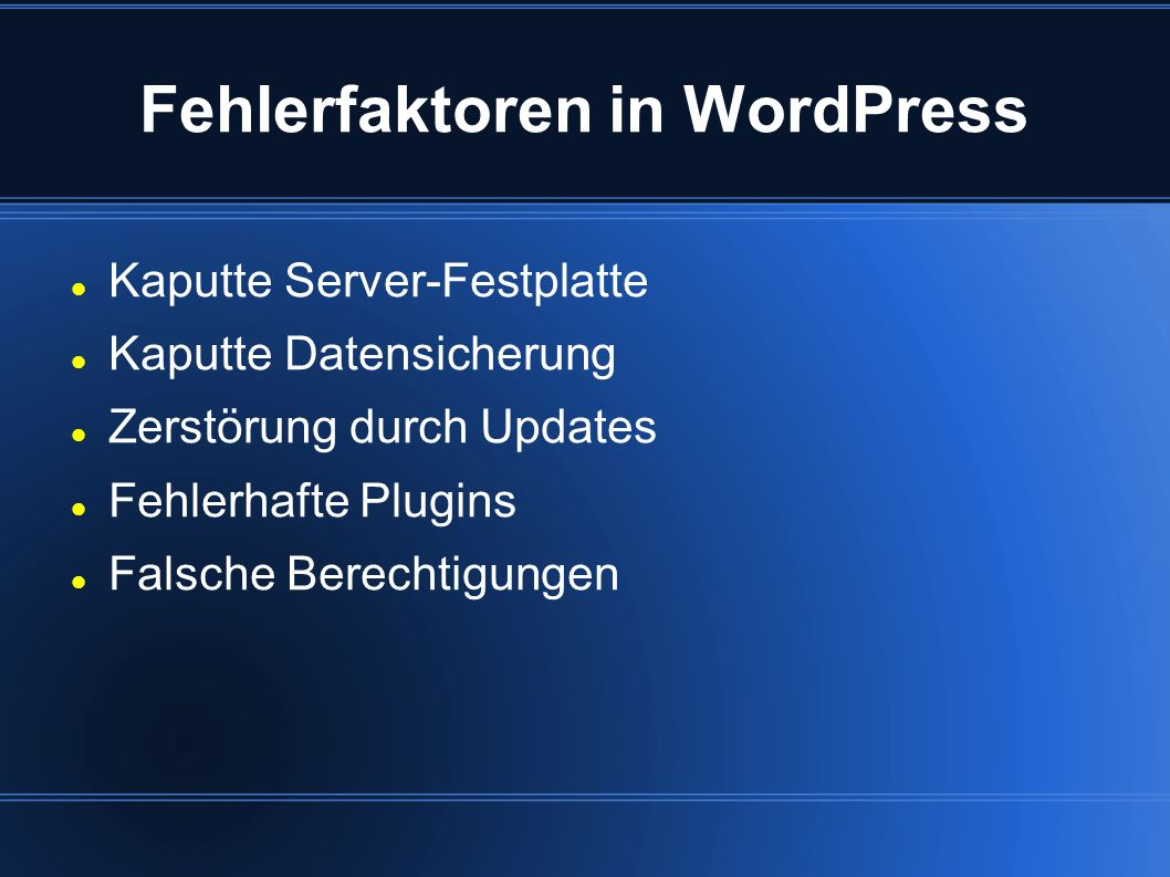 Fehlerfaktoren in WordPress