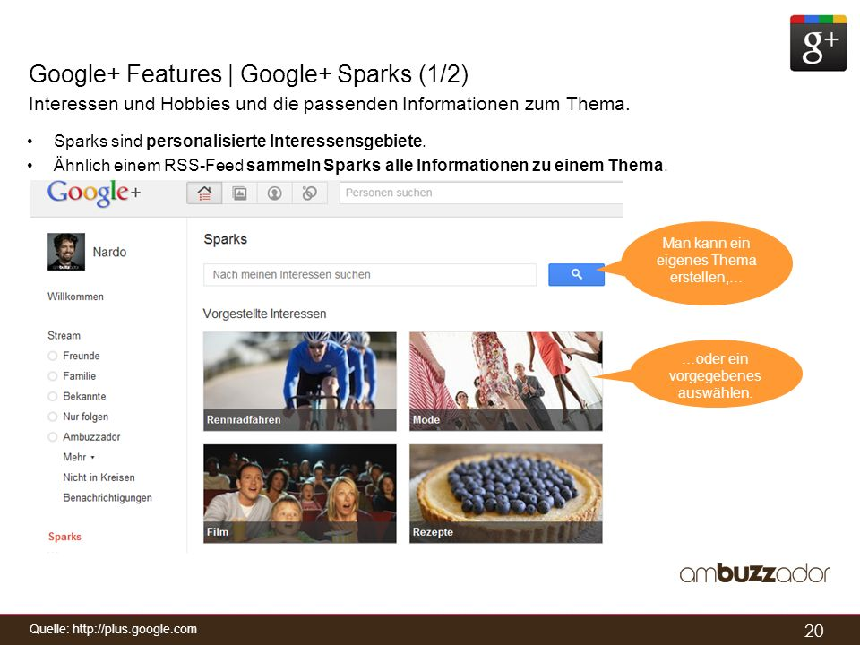Google+ Features | Google+ Sparks (1/2)