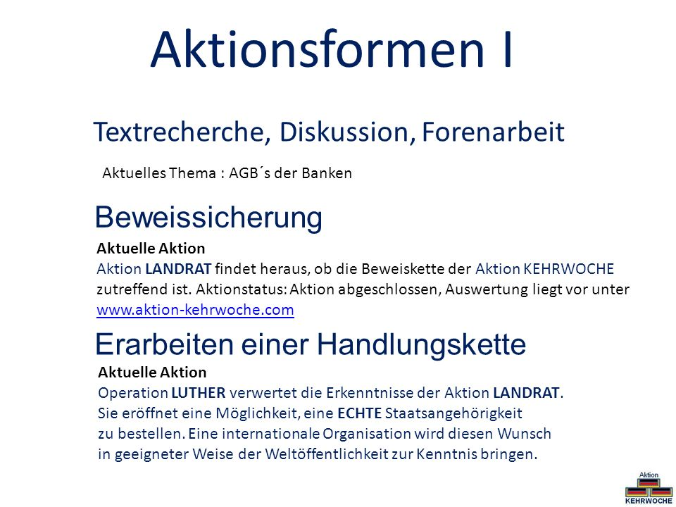 Aktionsformen I Textrecherche, Diskussion, Forenarbeit Beweissicherung