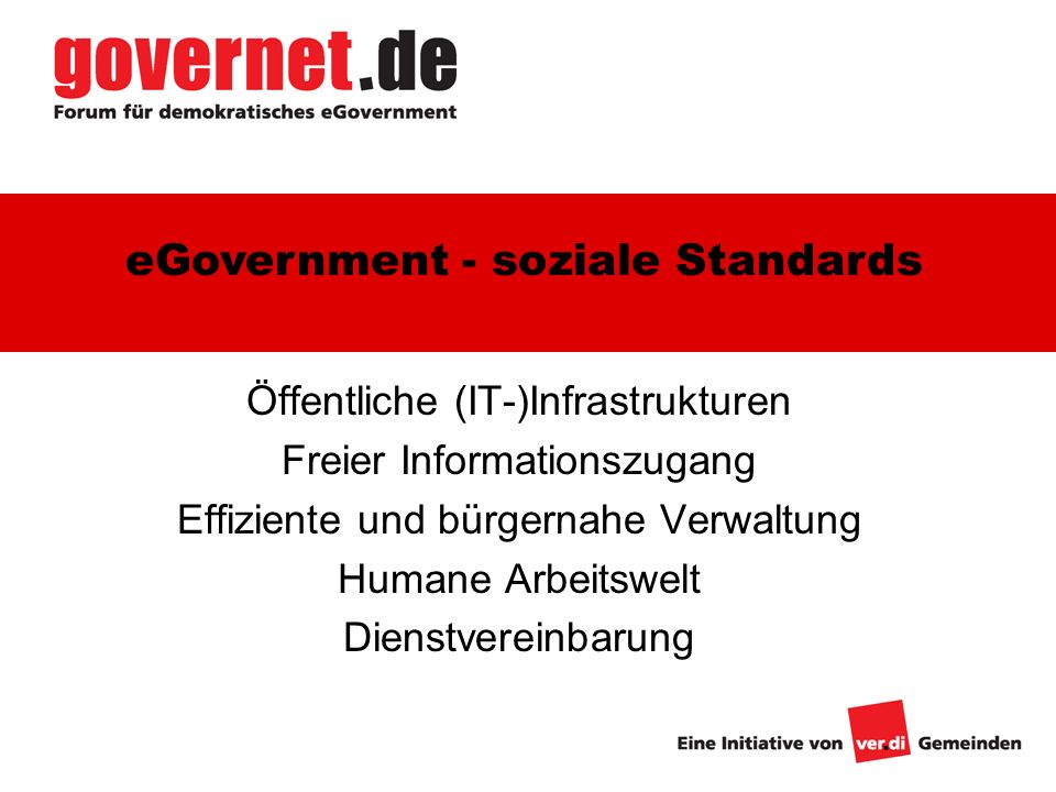 eGovernment - soziale Standards