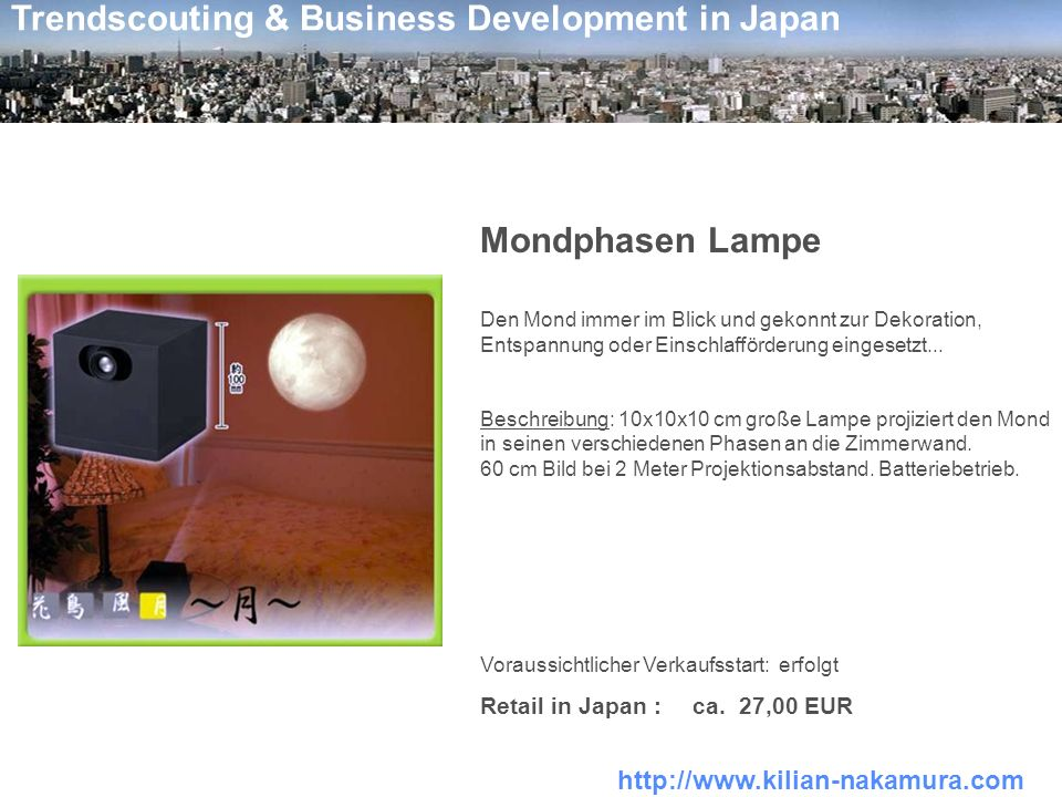 Mondphasen Lampe Retail in Japan : ca. 27,00 EUR