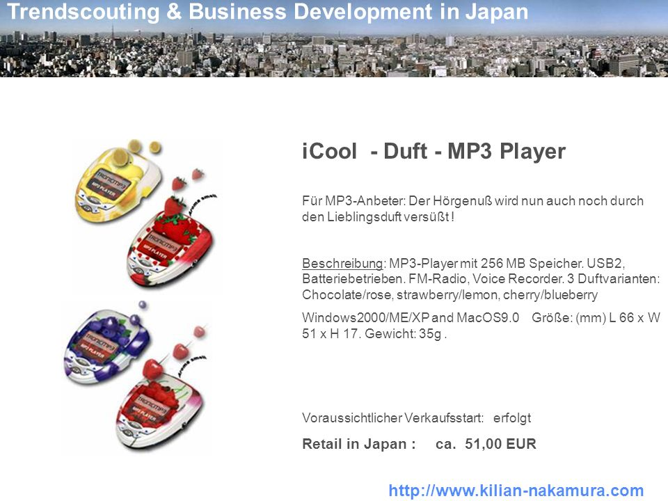 iCool - Duft - MP3 Player Retail in Japan : ca. 51,00 EUR