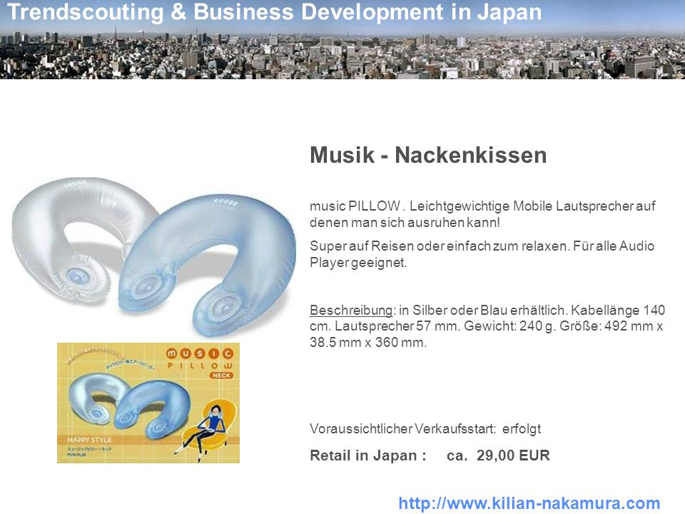 Musik - Nackenkissen Retail in Japan : ca. 29,00 EUR