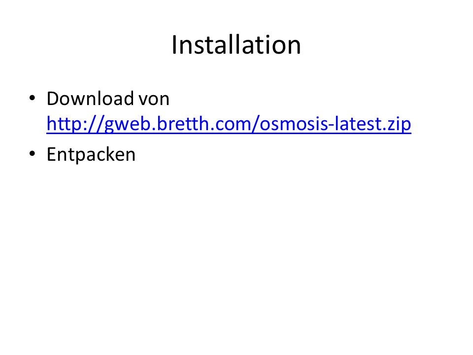 Installation Download von