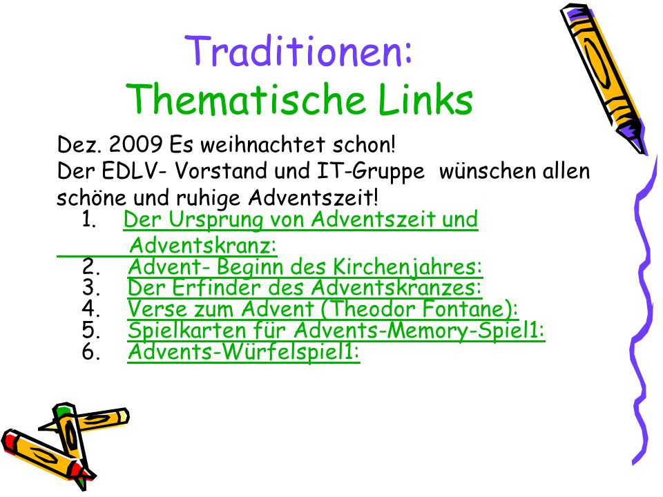 Traditionen: Thematische Links