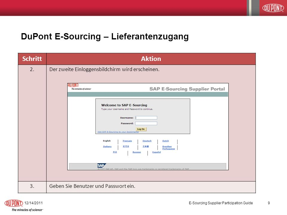 DuPont E-Sourcing – Lieferantenzugang
