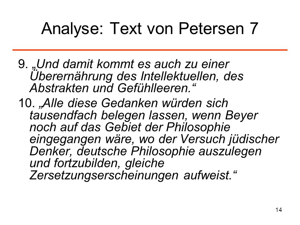 Analyse: Text von Petersen 7