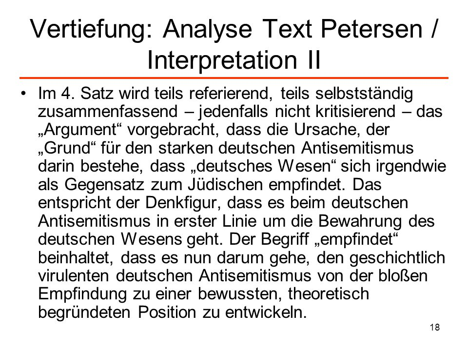 Vertiefung: Analyse Text Petersen / Interpretation II
