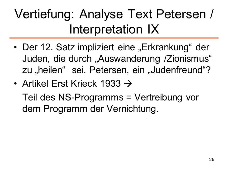Vertiefung: Analyse Text Petersen / Interpretation IX