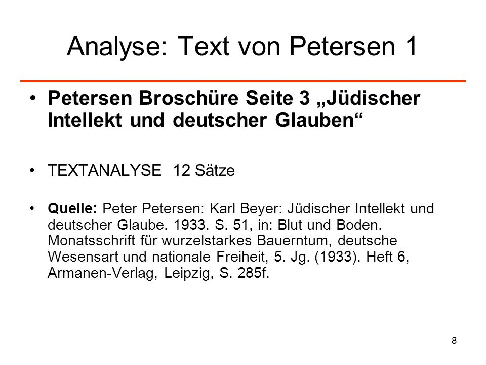 Analyse: Text von Petersen 1