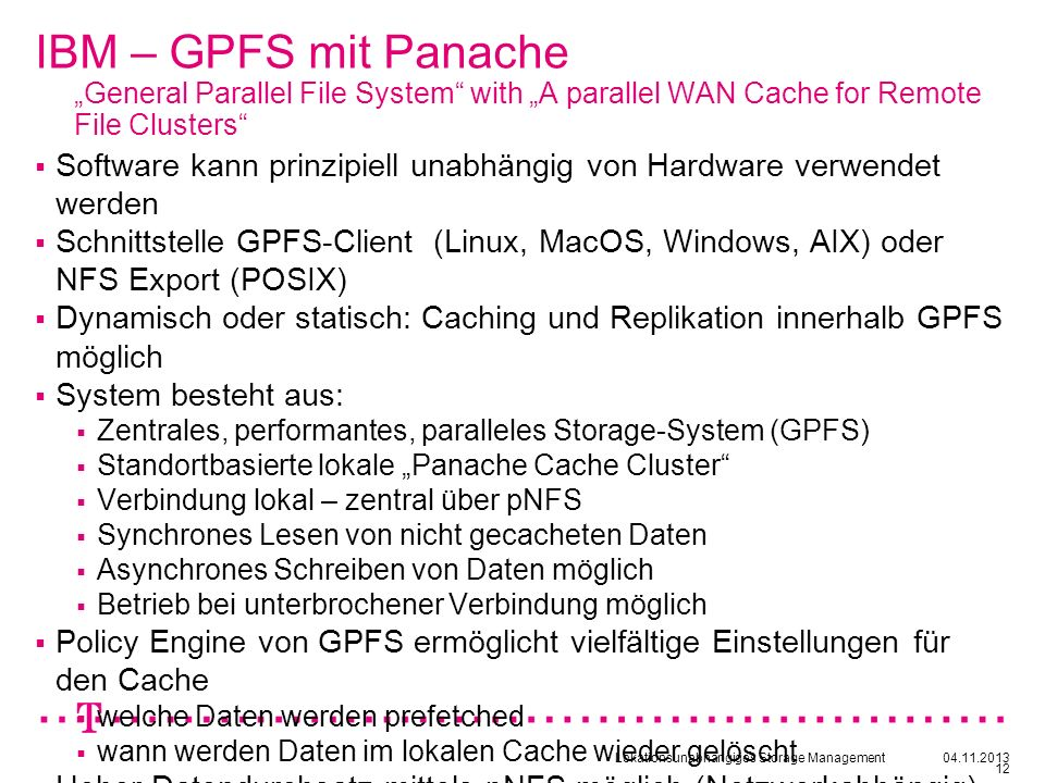 "IBM – GPFS mit Panache ""General Parallel File System with ""A parallel WAN Cache for Remote File Clusters"