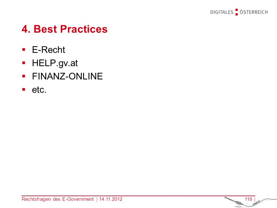 4. Best Practices E-Recht HELP.gv.at FINANZ-ONLINE etc.