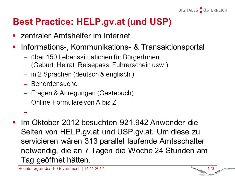 Best Practice: HELP.gv.at (und USP)