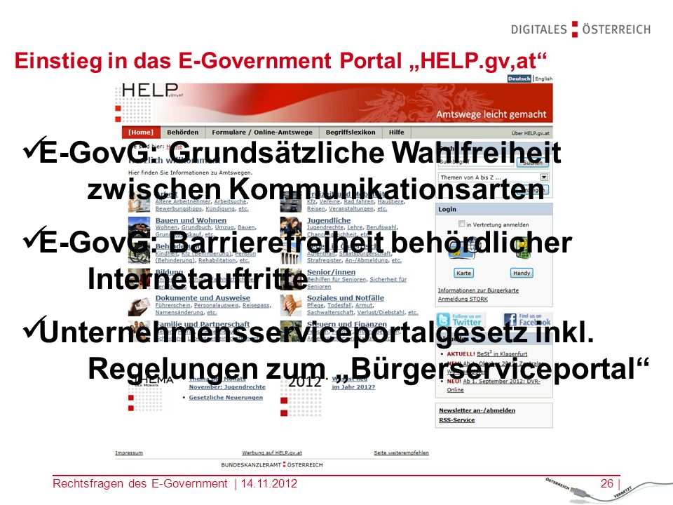 "Einstieg in das E-Government Portal ""HELP.gv,at"