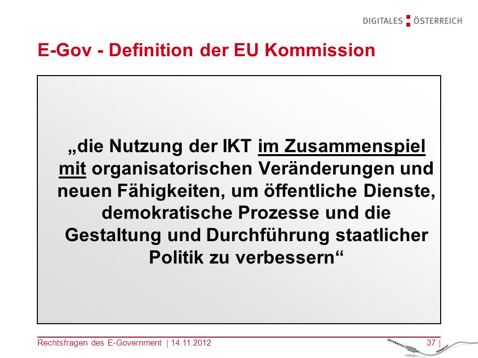 E-Gov - Definition der EU Kommission