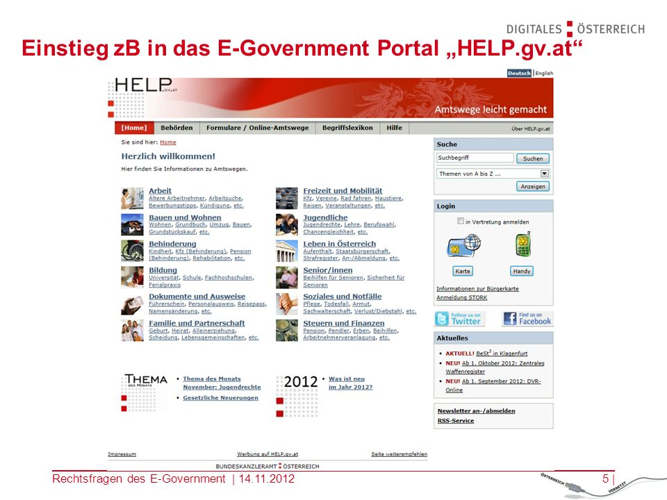 "Einstieg zB in das E-Government Portal ""HELP.gv.at"