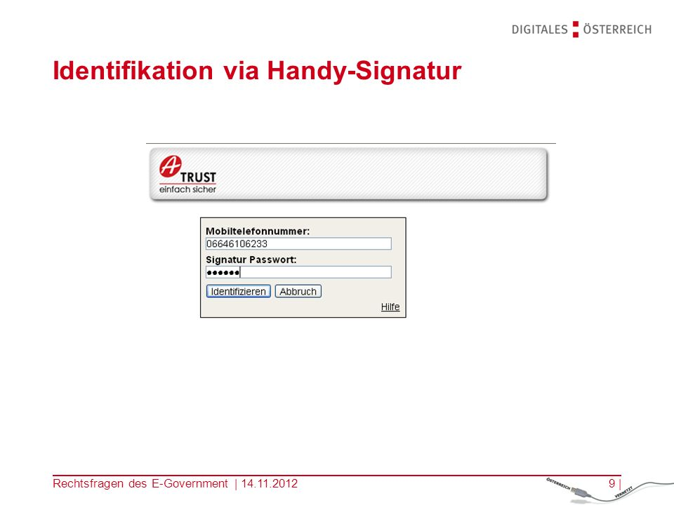 Identifikation via Handy-Signatur