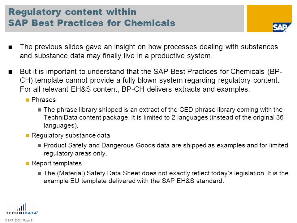 Regulatory content within SAP Best Practices for Chemicals
