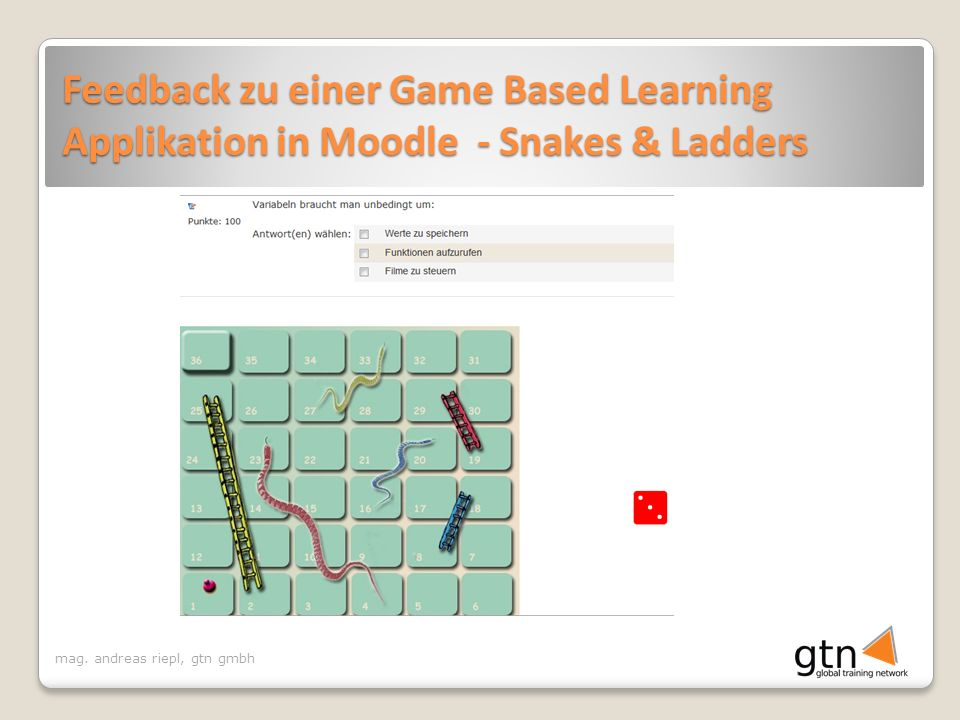 Feedback zu einer Game Based Learning Applikation in Moodle - Snakes & Ladders