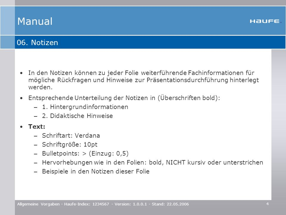 Manual 06. Notizen.