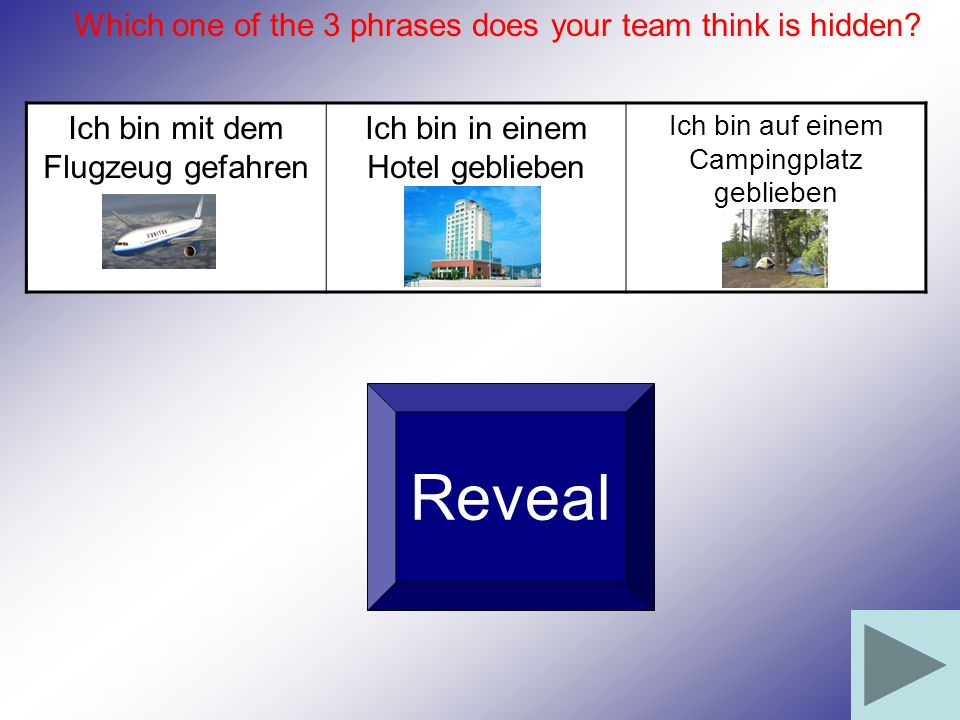 Reveal Which one of the 3 phrases does your team think is hidden