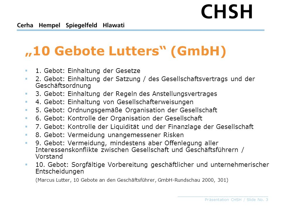 """10 Gebote Lutters (GmbH)"