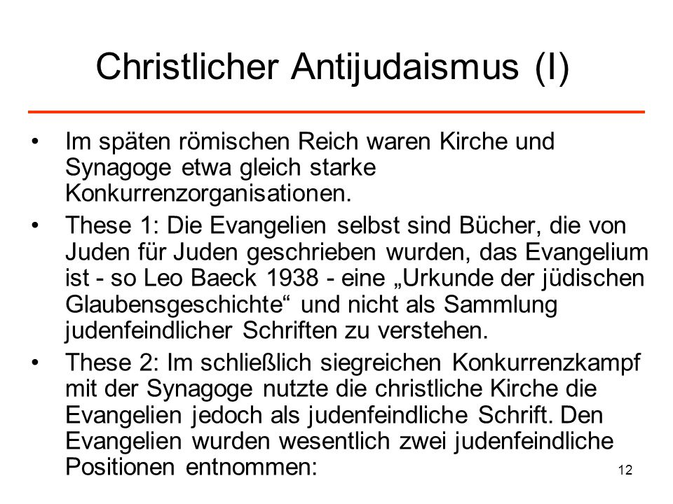 Christlicher Antijudaismus (I)