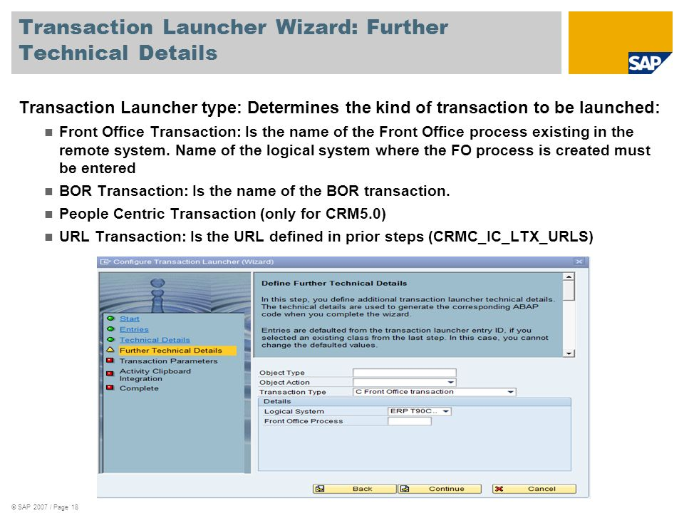Transaction Launcher Wizard: Further Technical Details