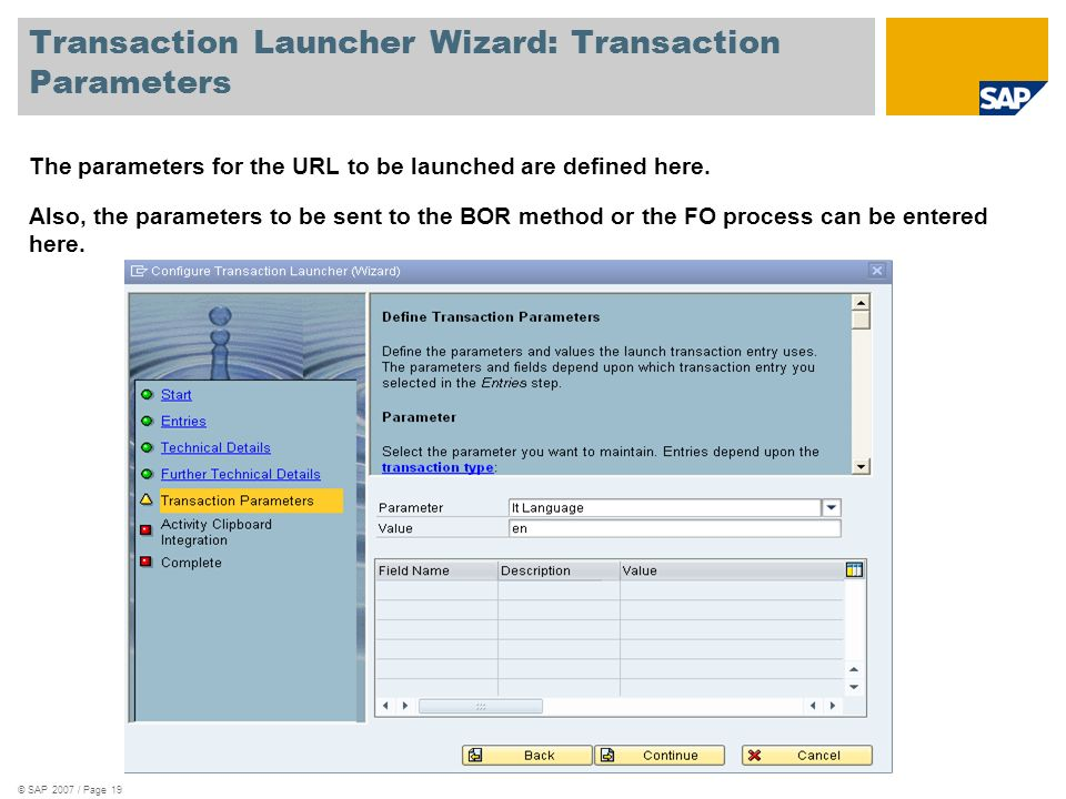 Transaction Launcher Wizard: Transaction Parameters