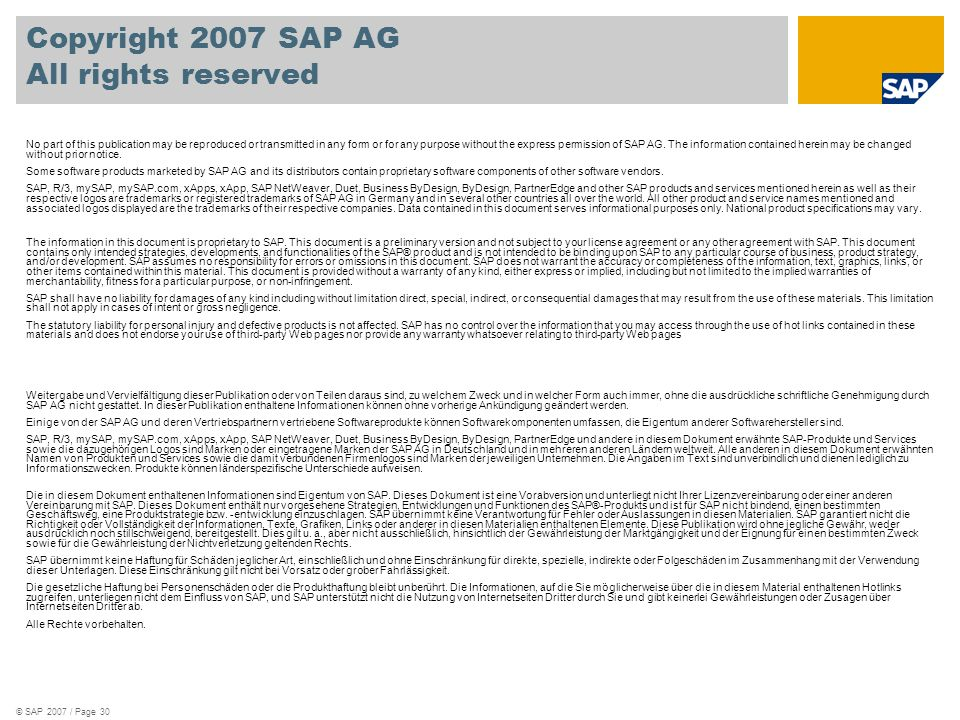 Copyright 2007 SAP AG All rights reserved