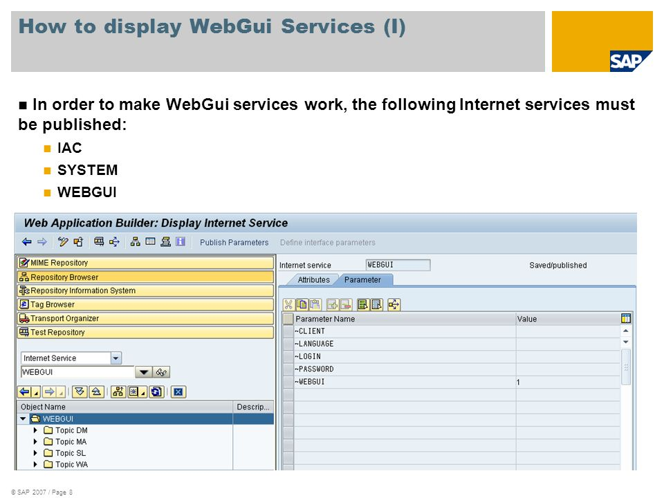How to display WebGui Services (I)