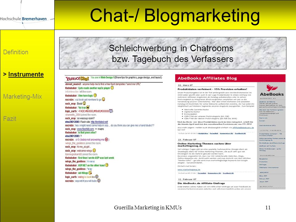 Chat-/ Blogmarketing Schleichwerbung in Chatrooms
