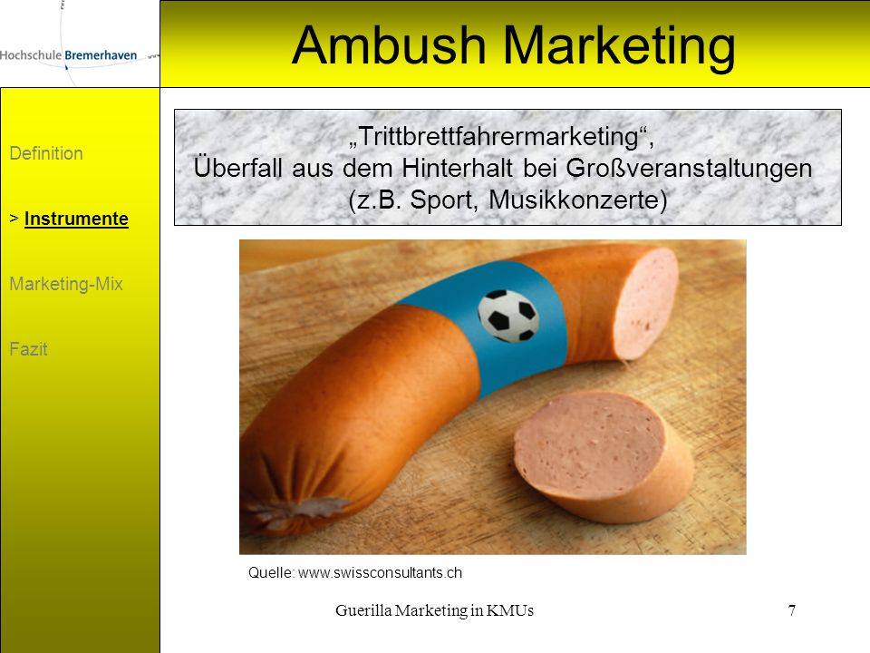 "Ambush Marketing ""Trittbrettfahrermarketing ,"