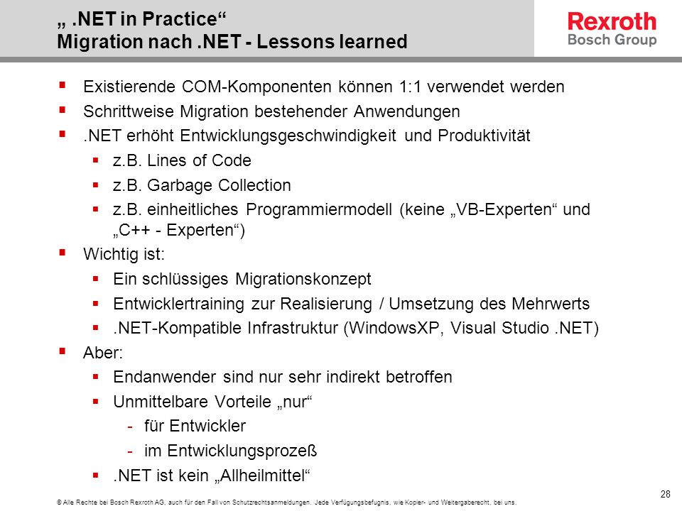 """ .NET in Practice Migration nach .NET - Lessons learned"