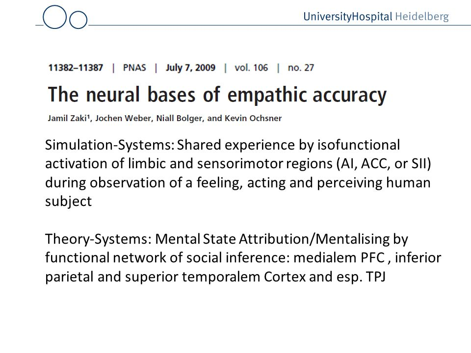Simulation-Systems: Shared experience by isofunctional activation of limbic and sensorimotor regions (AI, ACC, or SII) during observation of a feeling, acting and perceiving human subject