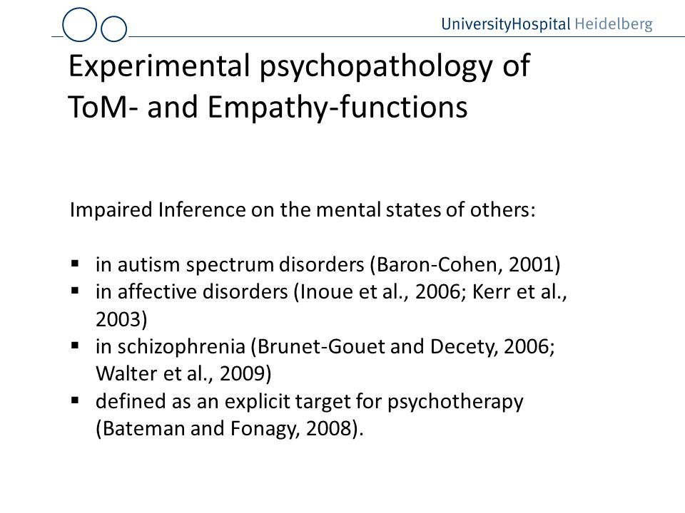 Experimental psychopathology of ToM- and Empathy-functions