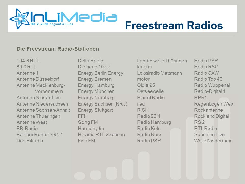Freestream Radios Freestream Die Freestream Radio-Stationen 104,6 RTL