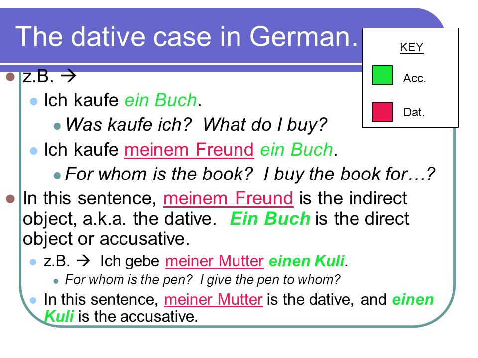 The dative case in German…