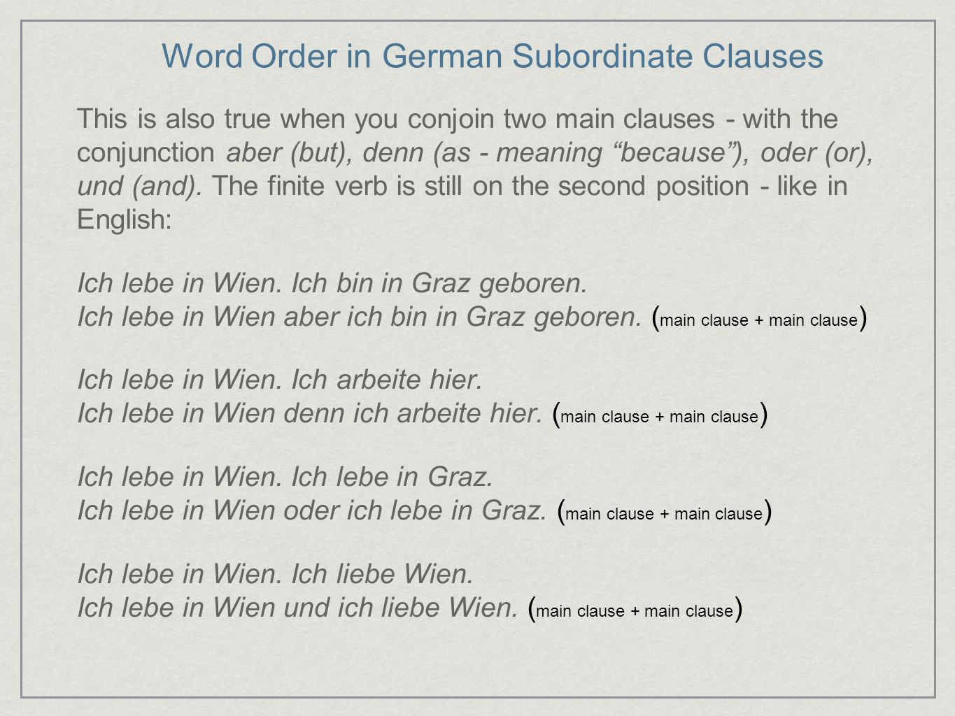 Word Order in German Subordinate Clauses