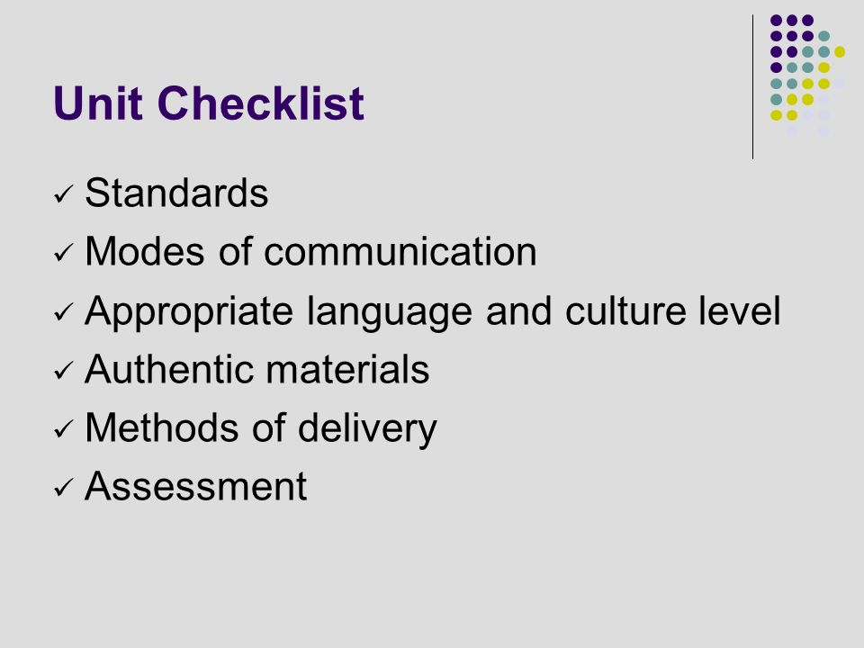 Unit Checklist Standards Modes of communication