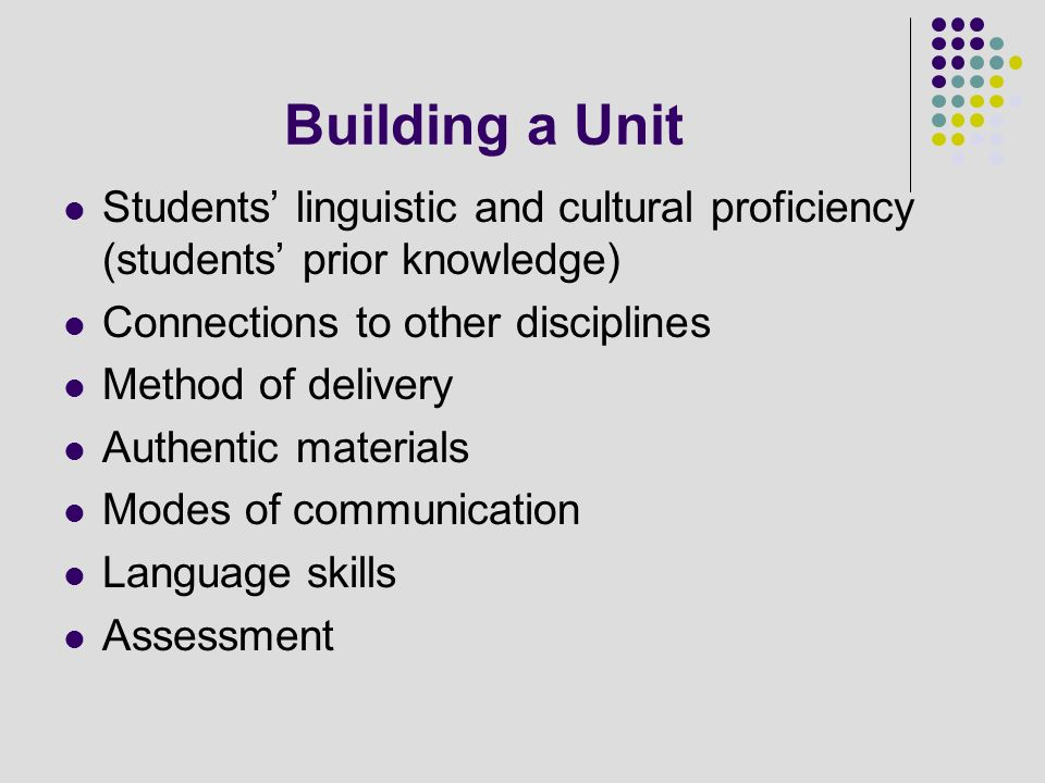 Building a Unit Students' linguistic and cultural proficiency (students' prior knowledge) Connections to other disciplines.