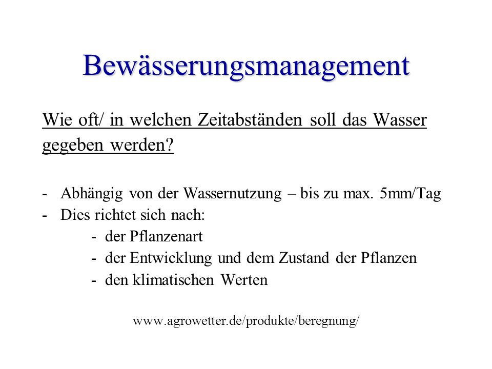 Bewässerungsmanagement