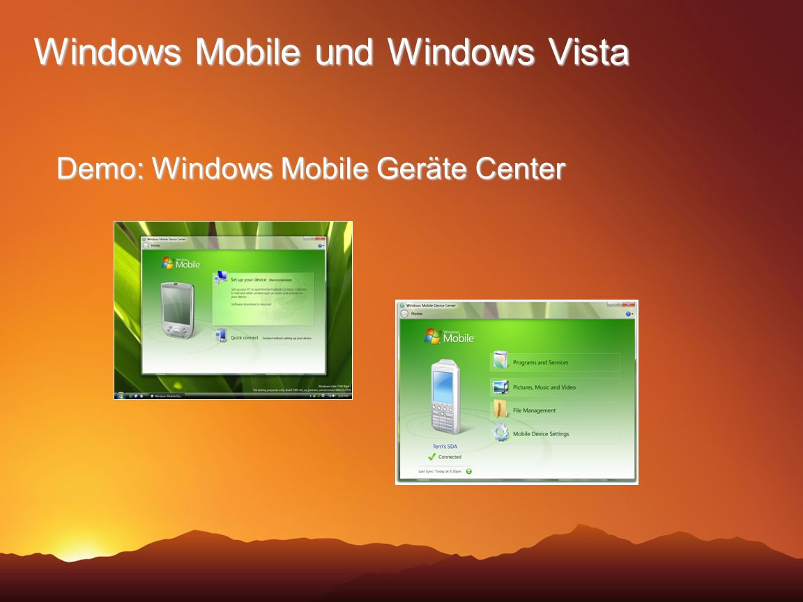 Windows Mobile und Windows Vista